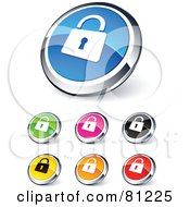 Royalty Free RF Clipart Illustration Of A Digital Collage Of Shiny Colored And Chrome Padlock Website Buttons