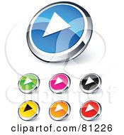 Digital Collage Of Shiny Colored And Chrome Play Website Buttons