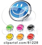 Royalty Free RF Clipart Illustration Of A Digital Collage Of Shiny Colored And Chrome Smiley Face Website Buttons