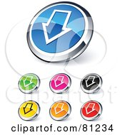 Royalty Free RF Clipart Illustration Of A Digital Collage Of Shiny Colored And Chrome Down Arrow Website Buttons