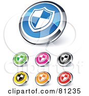 Royalty Free RF Clipart Illustration Of A Digital Collage Of Shiny Colored And Chrome Shield Website Buttons by beboy