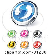 Royalty Free RF Clipart Illustration Of A Digital Collage Of Shiny Colored And Chrome Circling Arrows Website Buttons by beboy