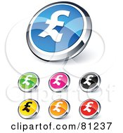 Royalty Free RF Clipart Illustration Of A Digital Collage Of Shiny Colored And Chrome Pound Website Buttons