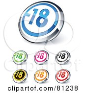 Digital Collage Of Shiny Colored And Chrome Negative 18 Website Buttons
