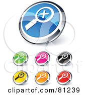 Royalty Free RF Clipart Illustration Of A Digital Collage Of Shiny Colored And Chrome Zoom In Website Buttons by beboy