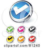 Royalty Free RF Clipart Illustration Of A Digital Collage Of Shiny Colored And Chrome Tick Mark Website Buttons