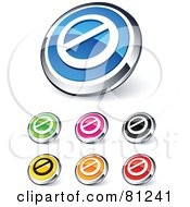 Digital Collage Of Shiny Colored And Chrome Prohibited Website Buttons