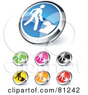 Digital Collage Of Shiny Colored And Chrome Construction Website Buttons