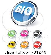 Royalty Free RF Clipart Illustration Of A Digital Collage Of Shiny Colored And Chrome BIO Website Buttons
