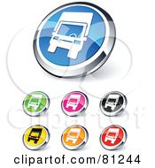Royalty Free RF Clipart Illustration Of A Digital Collage Of Shiny Colored And Chrome Trucking Website Buttons