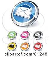 Royalty Free RF Clipart Illustration Of A Digital Collage Of Shiny Colored And Chrome Open Envelope Website Buttons
