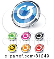 Royalty Free RF Clipart Illustration Of A Digital Collage Of Shiny Colored And Chrome Renew Arrow Website Buttons