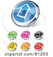 Digital Collage Of Shiny Colored And Chrome Up Arrow Outline Website Buttons