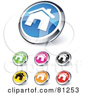 Digital Collage Of Shiny Colored And Chrome Home Website Buttons