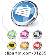 Digital Collage Of Shiny Colored And Chrome Briefcase Website Buttons
