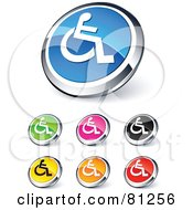 Digital Collage Of Shiny Colored And Chrome Handicap Website Buttons