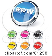 Digital Collage Of Shiny Colored And Chrome WWW Website Buttons