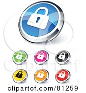 Digital Collage Of Shiny Colored And Chrome Secured Padlock Website Buttons