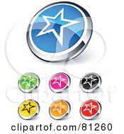 Royalty Free RF Clipart Illustration Of A Digital Collage Of Shiny Colored And Chrome Star Outline Website Buttons by beboy