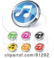 Digital Collage Of Shiny Colored And Chrome Music Website Buttons
