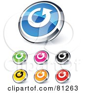 Digital Collage Of Shiny Colored And Chrome Refresh Website Buttons