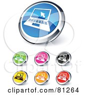 Digital Collage Of Shiny Colored And Chrome Laptop Website Buttons