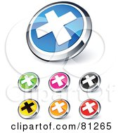 Digital Collage Of Shiny Colored And Chrome X Mark Website Buttons
