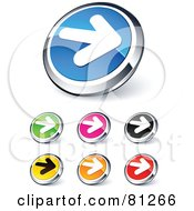 Digital Collage Of Shiny Colored And Chrome Solid Right Arrow Website Buttons