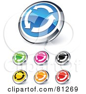 Digital Collage Of Shiny Colored And Chrome Refreseh Circling Arrows Website Buttons