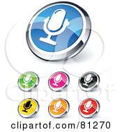 Royalty Free RF Clipart Illustration Of A Digital Collage Of Shiny Colored And Chrome Mic Website Buttons