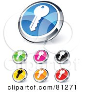 Digital Collage Of Shiny Colored And Chrome Key Website Buttons