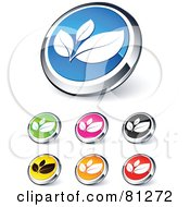 Digital Collage Of Shiny Colored And Chrome Leaves Website Buttons