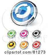 Digital Collage Of Shiny Colored And Chrome Circling Renew Arrows Website Buttons