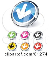 Digital Collage Of Shiny Colored And Chrome Solid Down Arrow Website Buttons
