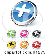 Digital Collage Of Shiny Colored And Chrome Plus Website Buttons