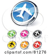 Digital Collage Of Shiny Colored And Chrome Airplane Website Buttons