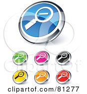 Digital Collage Of Shiny Colored And Chrome Zoom Out Website Buttons