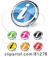 Digital Collage Of Shiny Colored And Chrome Information Website Buttons