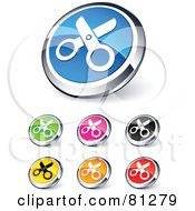 Digital Collage Of Shiny Colored And Chrome Scissors Website Buttons