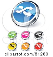 Digital Collage Of Shiny Colored And Chrome Double Arrow Website Buttons