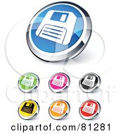 Royalty Free RF Clipart Illustration Of A Digital Collage Of Shiny Colored And Chrome Floppy Disc Website Buttons by beboy