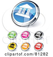 Digital Collage Of Shiny Colored And Chrome Capitol Building Website Buttons