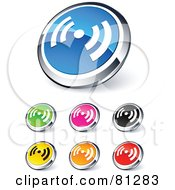 Royalty Free RF Clipart Illustration Of A Digital Collage Of Shiny Colored And Chrome Signal Website Buttons