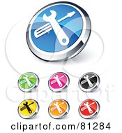 Royalty Free RF Clipart Illustration Of A Digital Collage Of Shiny Colored And Chrome Tools Website Buttons by beboy