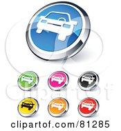 Royalty Free RF Clipart Illustration Of A Digital Collage Of Shiny Colored And Chrome Car Website Buttons by beboy