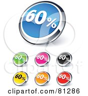 Digital Collage Of Shiny Colored And Chrome 60 Percent Website Buttons