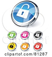 Royalty Free RF Clipart Illustration Of A Digital Collage Of Shiny Colored And Chrome Open Padlock Website Buttons by beboy