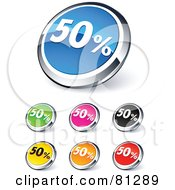 Digital Collage Of Shiny Colored And Chrome 50 Percent Website Buttons
