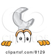 Clipart Picture Of A Wrench Mascot Cartoon Character Peeking Over A Surface by Toons4Biz