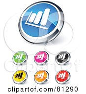 Royalty Free RF Clipart Illustration Of A Digital Collage Of Shiny Colored And Chrome Financial Bar Graph Website Buttons